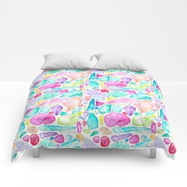 Rainbow Watercolor Seashells Comforters