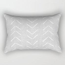 Mudcloth Big Arrows in Grey Rectangular Pillow