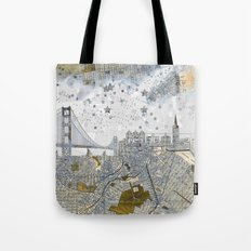 San Francisco skyline old map Tote Bag