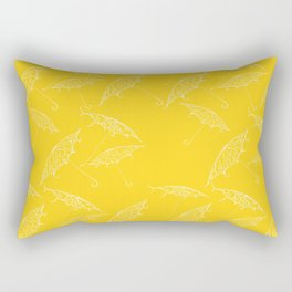 Yellow Summer Beach Bliss Umbrella Pattern Rectangular Pillow