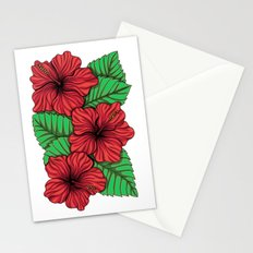 Bouquet of hibiscus flower and tropical leaves Stationery Cards