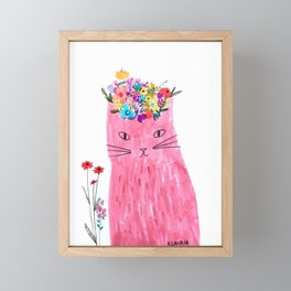 Cat in floral hat Framed Mini Art Print