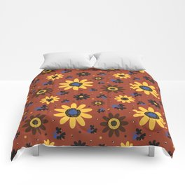 Retro Fall 60's Sunflower Floral in Brown Comforters