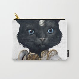 funny cute unicorn warrior black cat with blue eyes Carry-All Pouch
