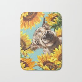 Highland Cow with Sunflowers in Blue Bath Mat
