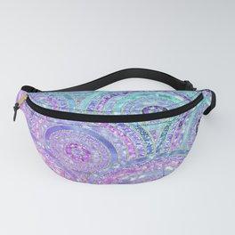 Aqua Blue Purple and Pink Sparkling Glitter Circles Fanny Pack