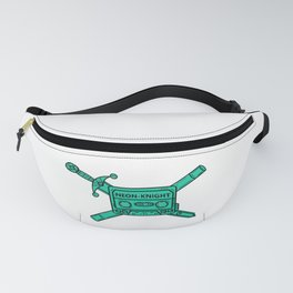 Neon Knight Cyan Cassette and Sword Crest Fanny Pack