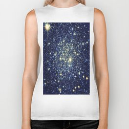 galaxY Stars : Midnight Blue & Gold Biker Tank