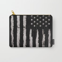 White Grunge American flag Carry-All Pouch