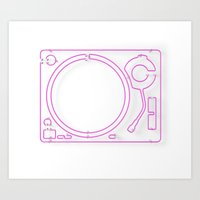 Neon Turntable 2 - 3D Art Art Print