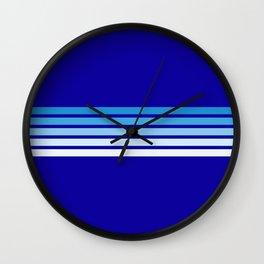 Retro Stripes on Blue Wall Clock