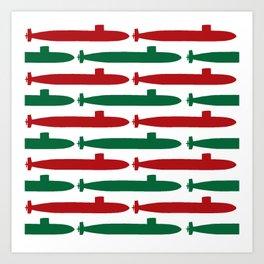 Christmas Subs Art Print