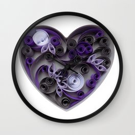Purple Grey Love Heart Paper Quilled Colorful Heart Wedding Anniversary Gift Wall Clock