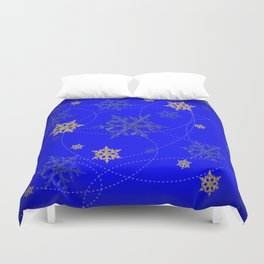 Decorative Scenic Blue Swirling Snowflakes Winter Vista Duvet Cover