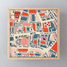 paris map blue Framed Mini Art Print