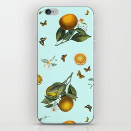Oranges and Butterflies on Mint iPhone Skin