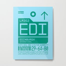 Baggage Tag C - EDI Edinburgh Scotland Metal Print