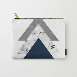 Blue grey monochrome blossom arrows Carry-All Pouch