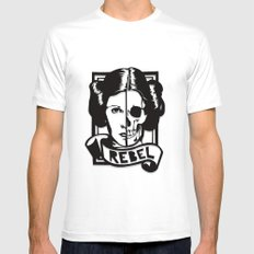 RIP Carrie Fisher 1956–2016 MEDIUM Mens Fitted Tee White