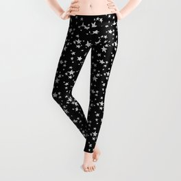 Linocut black and white stars outer space astronauts minimal Leggings