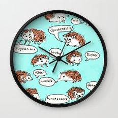 Hedgehogs Say Funny Things Wall Clock