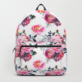 Hand painted blush pink gray yellow watercolor roses pattern Backpack