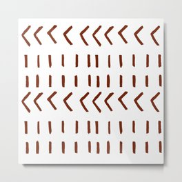 Lines and Arrows in Rust on White  Metal Print