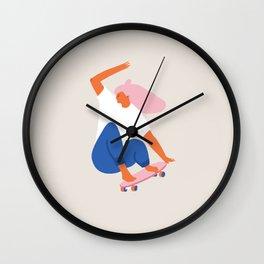 Skateboard girl Wall Clock
