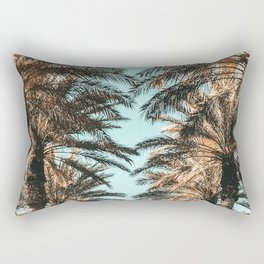 {1 of 2} Palm Tree Canopy // Tropical Summer Beach Teal Shaded Sky Rectangular Pillow