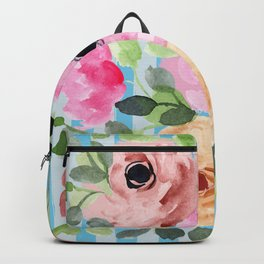 Watercolor Flowers Preppy Pastels Backpack