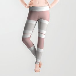 Pink  and Light Gray Stripes Leggings