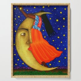 'Girl on the Moon with the Stars in her Hand' in the style of R. Morales (Artist Unknown) Serving Tray