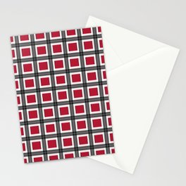 Crimson Red Plaid Pattern Design Stationery Cards