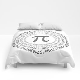 The Pi symbol mathematical constant irrational number on circle, greek letter, background Comforters