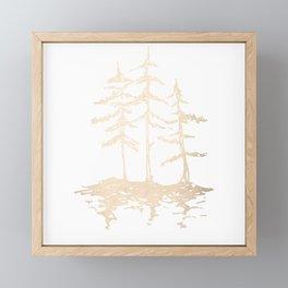 Three Sisters Forest White Gold Trees Framed Mini Art Print