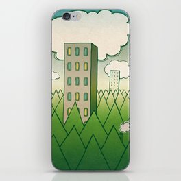 that in scare flew away to a forest with high grey trees. iPhone Skin