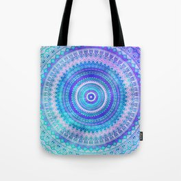 Blue Turquoise And Purple Watercolor Mandala Art Tote Bag