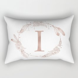 Letter I Rose Gold Pink Initial Monogram Rectangular Pillow