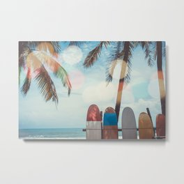 Surf Life Tropical Coastal Landscape Surfboard Scene Metal Print