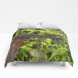 Green Heron Portrait Comforters