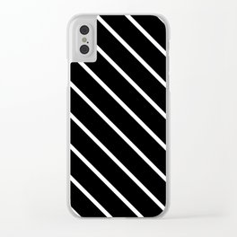 Diagonal Lines (White & Black Pattern) Clear iPhone Case