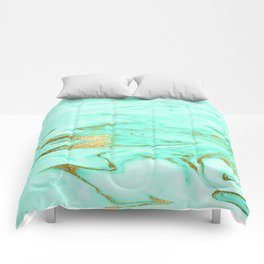 Mint Gilded Marble Comforters