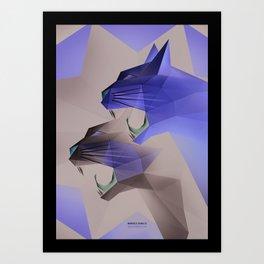Geometric Cats Art Print