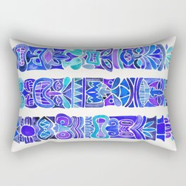 Tiki Totems – Indigo Palette Rectangular Pillow