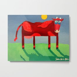 Udderly Confused - Funny Cow Art Metal Print