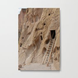 Ancient Native American cliff dwellings in Bandelier National Monument, New Mexico Metal Print