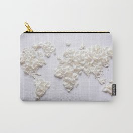 White Rose Petal World Map Carry-All Pouch