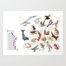 Endangered Animals of Europe Art Print