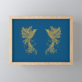 Goldn Phoenix Twins Blue Framed Mini Art Print