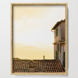 Dreamy sunset and green blinds - Veroli, Lazio, Italy - Travel photography print Serving Tray